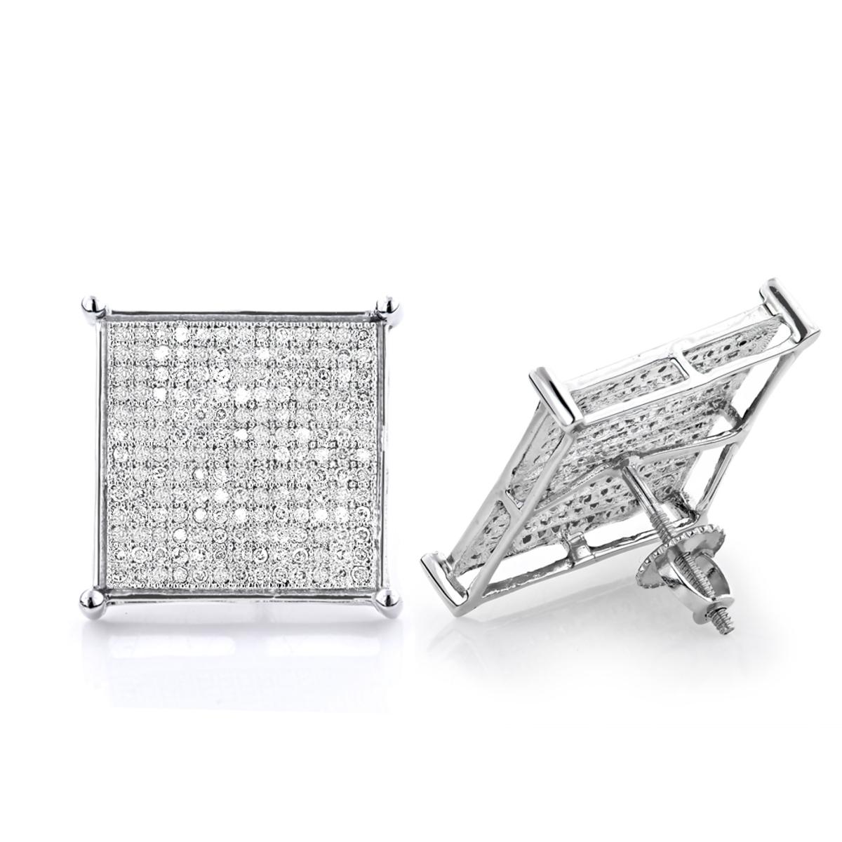 Real Hip Hop Jewelry: Diamond Earrings 10K Gold 1.13ct