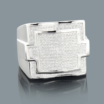 Real Hip Hop Jewelry: Mens Silver Diamond Ring 0.48ct