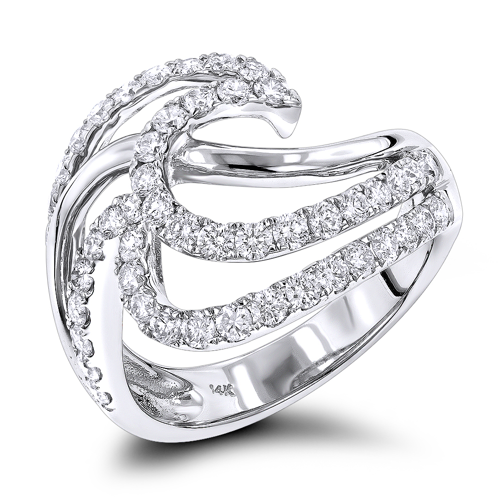 Right Hand Rings: Gold Diamond Wave Ring For Women 1.5ct 14K