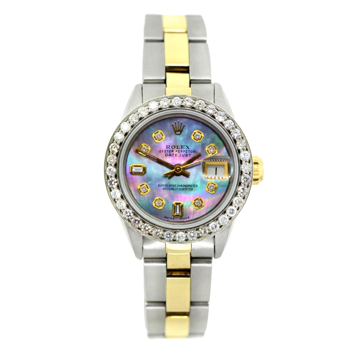 Rolex Datejust Ladies Custom Diamond Watch Stainless Steel & 18k Gold 1.2ct