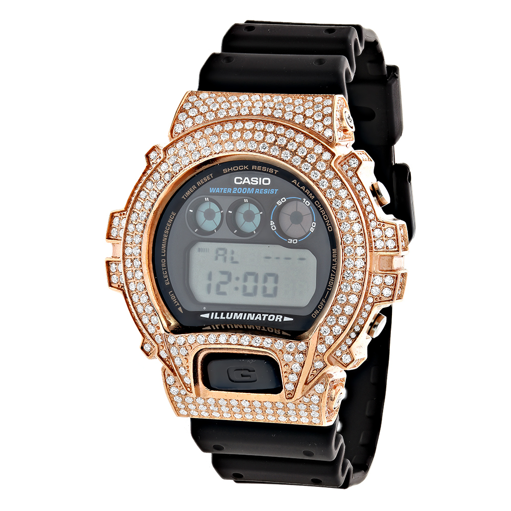 Rose Gold Plated Casio Watches: G-Shock White CZ Crystal Watch DW6900
