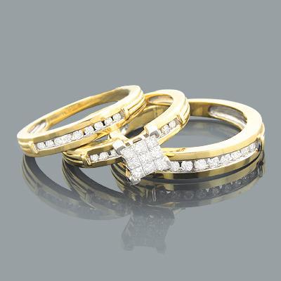 Round Princess Cut Diamond Trio Ring Set 0.66ct 14K Gold