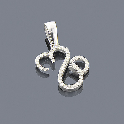 Silver Heart Pendant with Diamonds 0.19ct