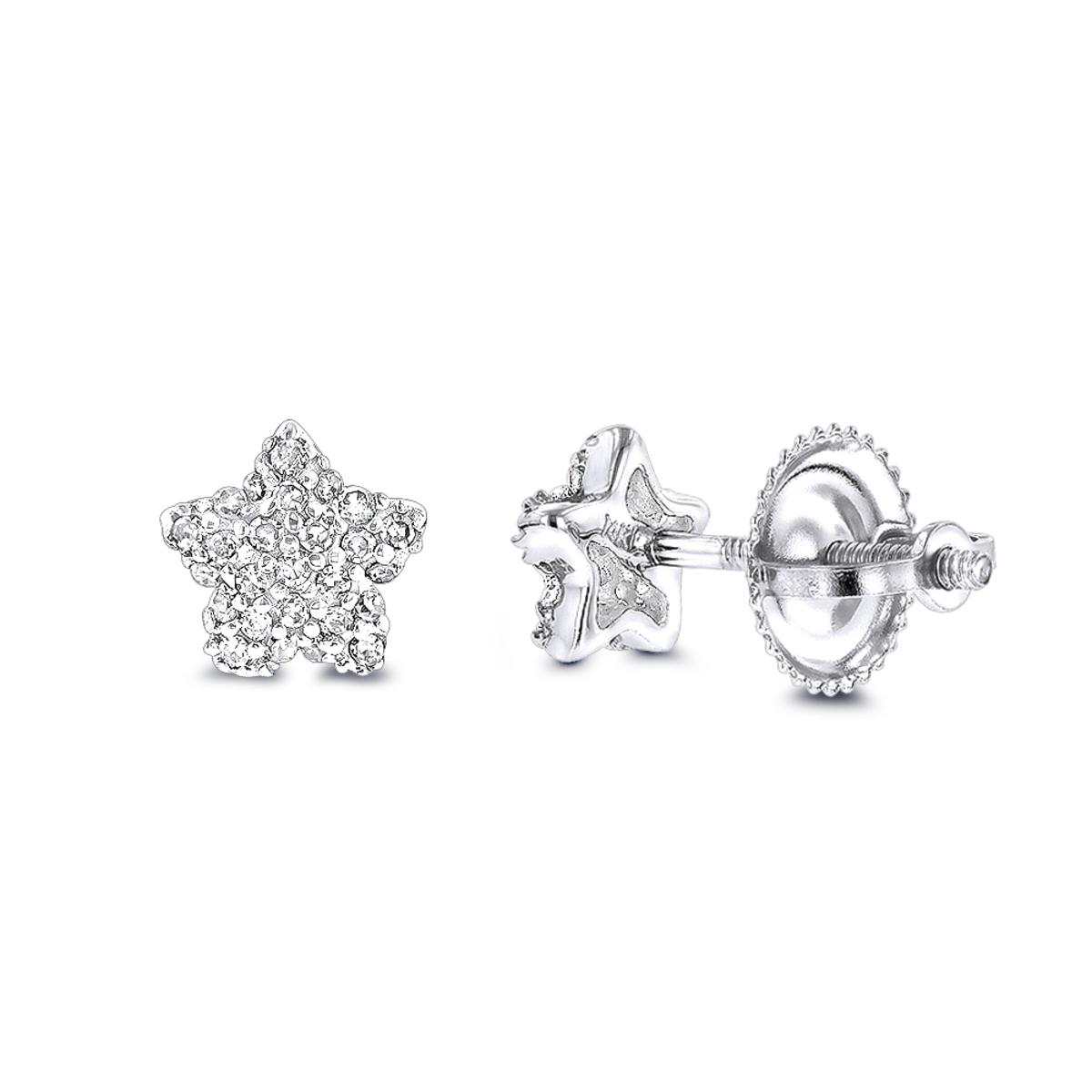 Small Diamond Star Earrings Studs 0.11ct 14K Gold