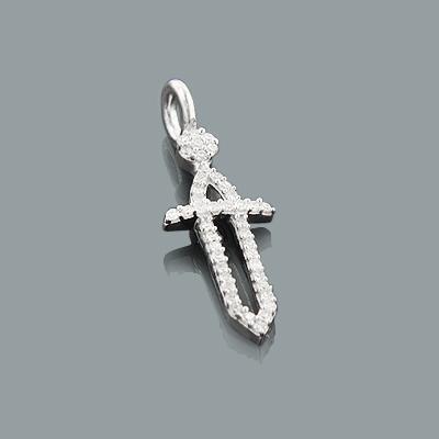 Small Diamond Sword Pendant in 10K Gold 0.17ct Charm