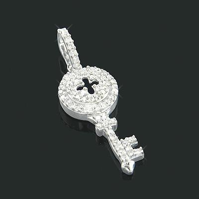 Small Round Diamond Key Pendant 0.18ct 10K