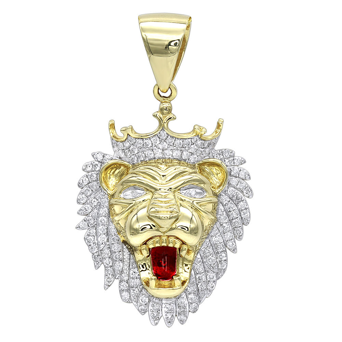 Solid 10K Gold Diamond King Lion Head Pendant for Men 1.2ct Luxurman Charm