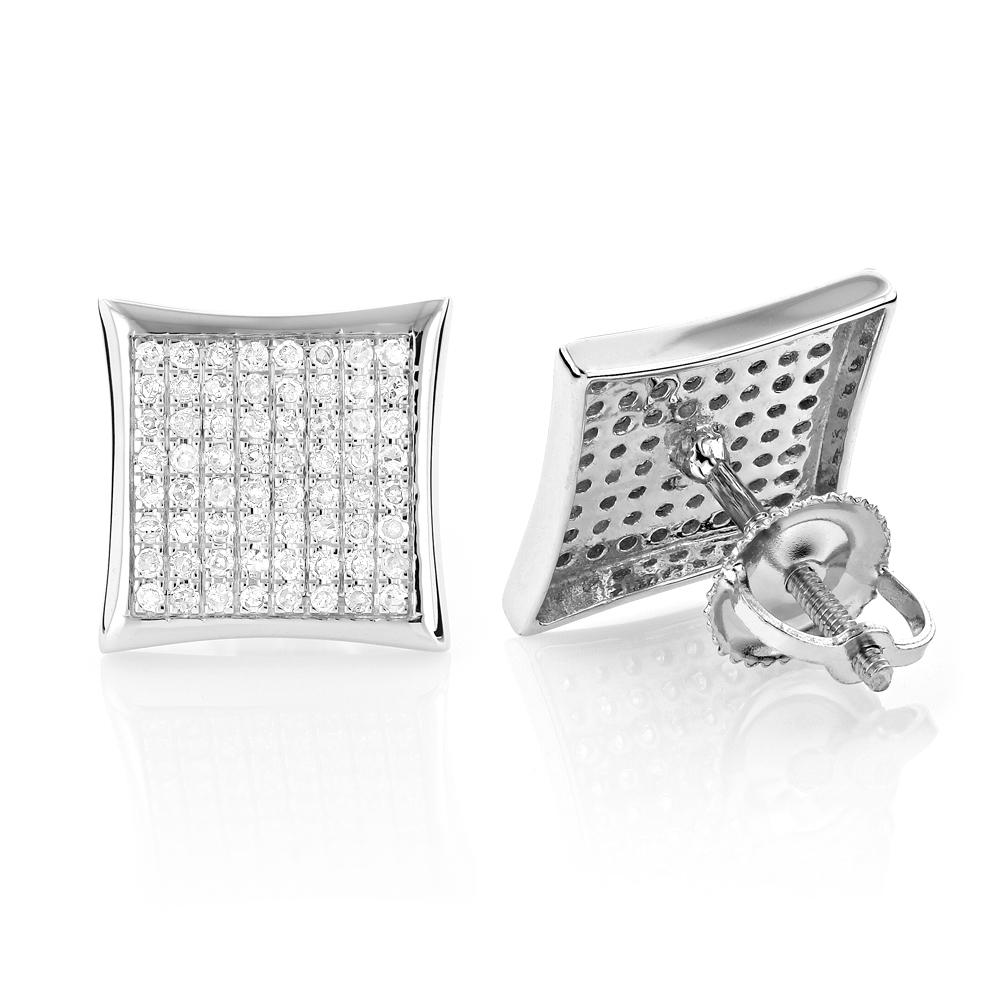 Solid 10K Gold Kite Shaped Diamond Stud Earrings 0.66ct