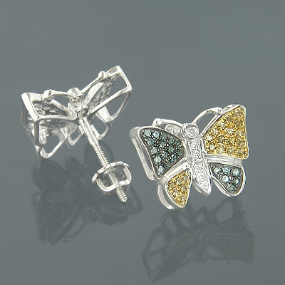Solid Gold Blue Yellow Diamond Butterfly Earrings 0.50ct