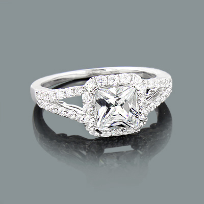 Halo Split Shank Engagement Ring Setting with Round Diamonds 0.69ct 14K