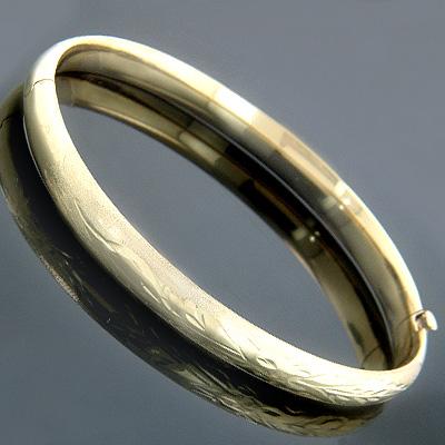 Small Stackable 14K Gold Bangle Bracelet 5mm wide