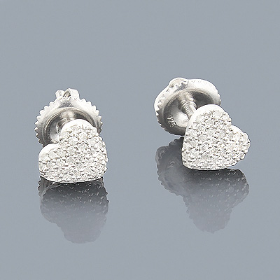 Sterling Silver Diamond Heart Earrings 0.25ct