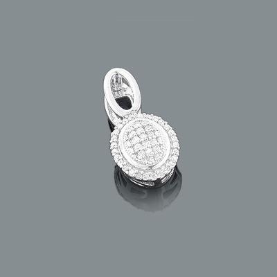 Sterling Silver Diamond Oval Pendant 0.14ct