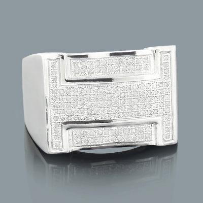 Sterling Silver Mens Diamond Ring 0.49ct