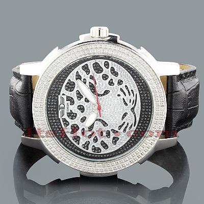 Tdiezel Mens Diamond Leopard Watch 0.12ct