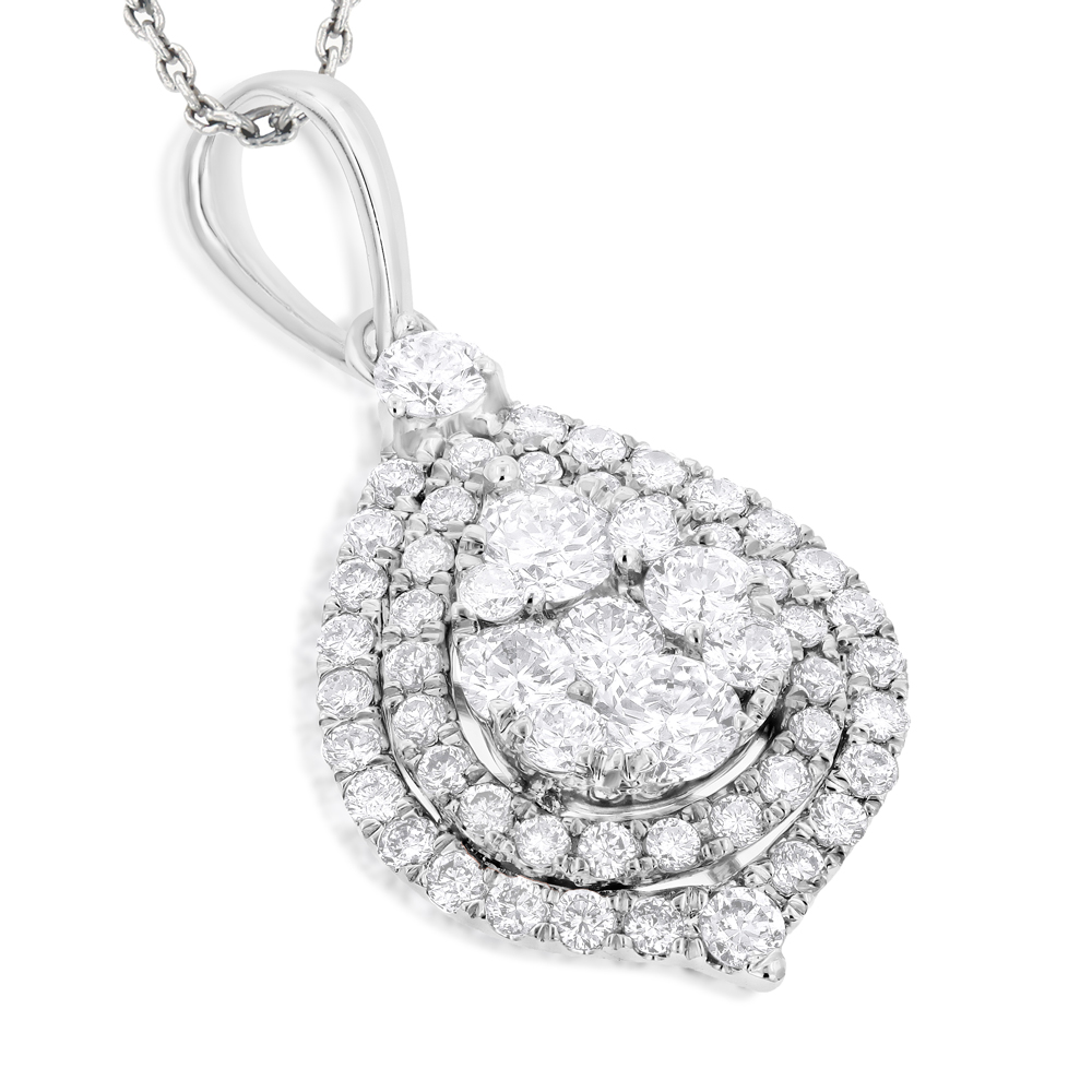 Teardrop Diamond Pendant for Women 1.25ct 14k Yellow Rose White Gold