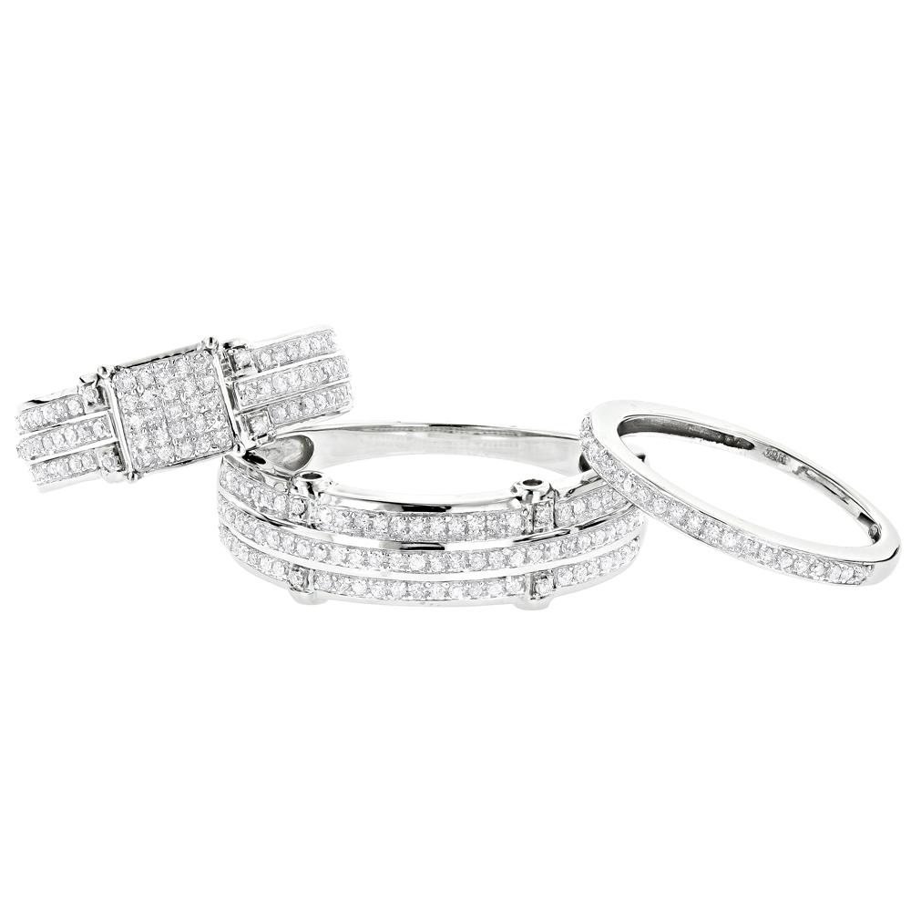 Trio Ring Sets: Diamond Bridal Set 10K 0.91ct