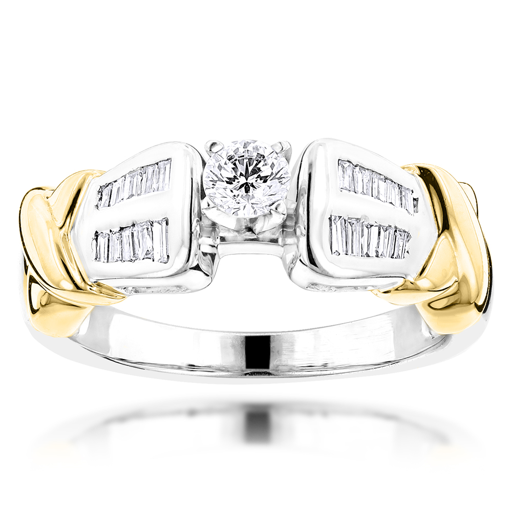 Two Tone 14K Gold Diamond Engagement Ring 0.78ct