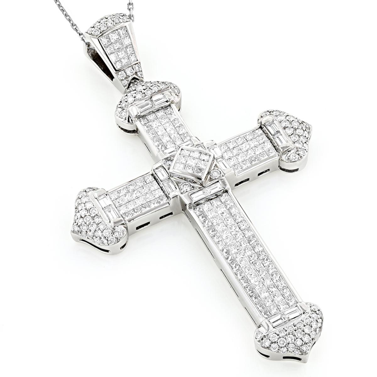 Unique Designer Oversized Diamond Platinum Mens Cross Pendant 24.5ct