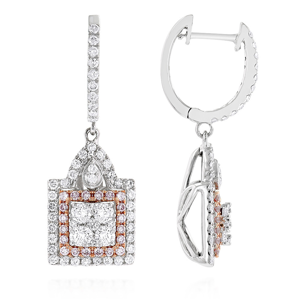 Unique Designer White and Pink Diamond Earrings for Women 14K Gold 1.75ct