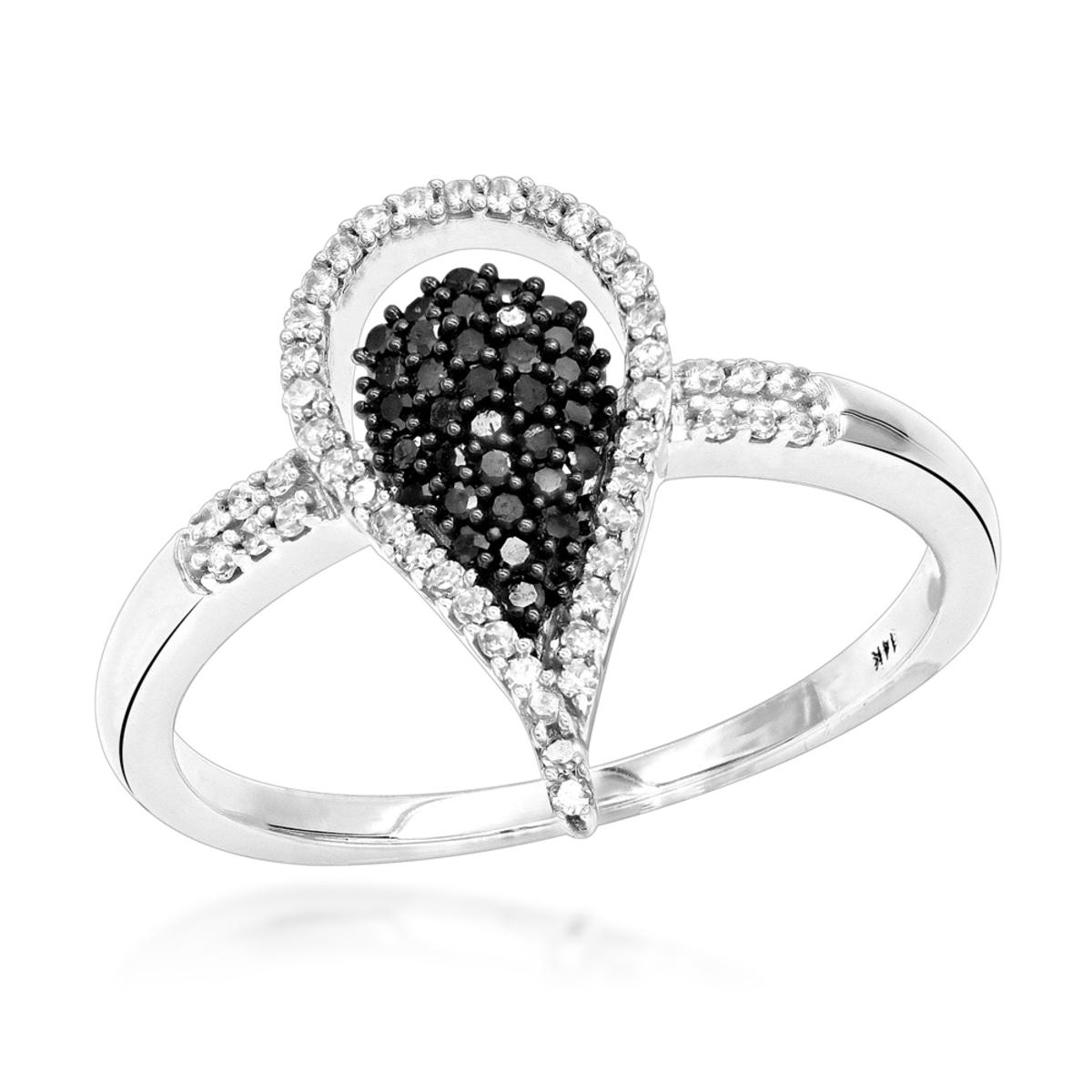 White Black Diamond Teardrop Ring 0.31ct 14K Gold