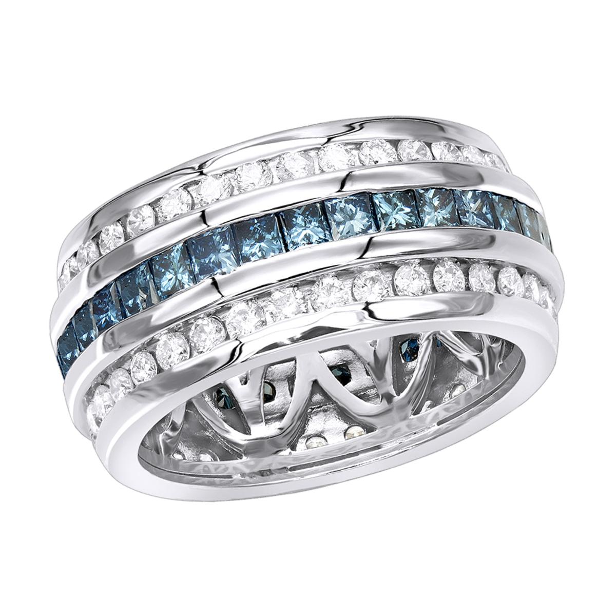 White Blue Diamond Eternity Ring 2.64ct 14K Gold