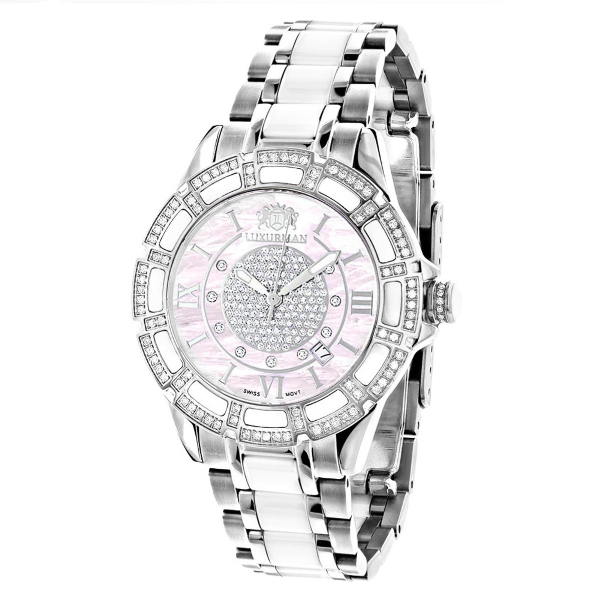 White Ceramic Womens Diamond Watch 1.25ct Pink MOP Luxurman Galaxy