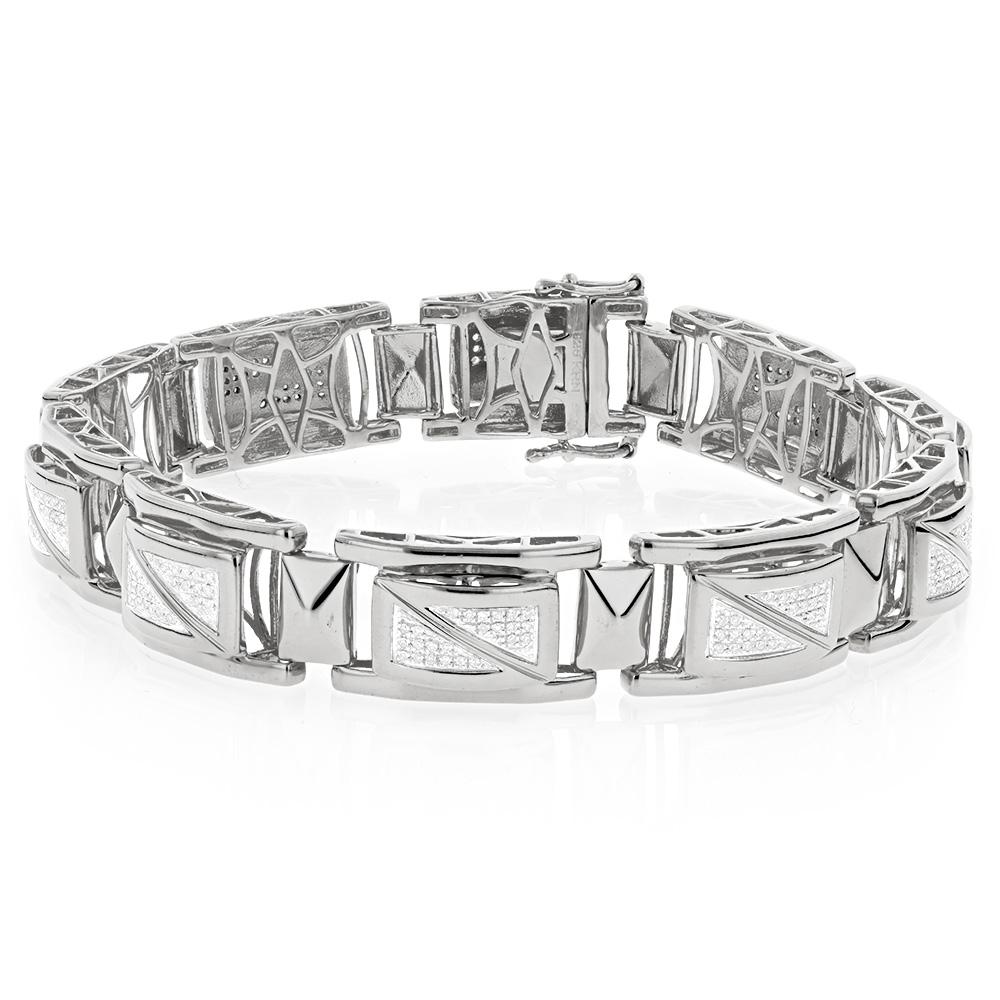 White Gold Plated Sterling Silver Diamond Bracelet for Men 0.9ct