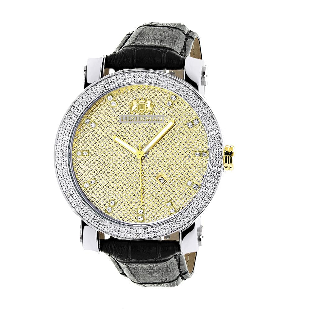 White & Yellow Gold Luxurman Mens Diamond Watch 0.18ct Black Leather Band
