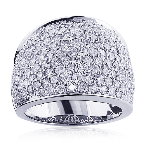 Womens 14K Gold Pave Diamond Fashion Ring 3.6ct Wedding Band
