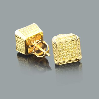 Yellow Diamond Cube Earrings 0.50ct Sterling Silver