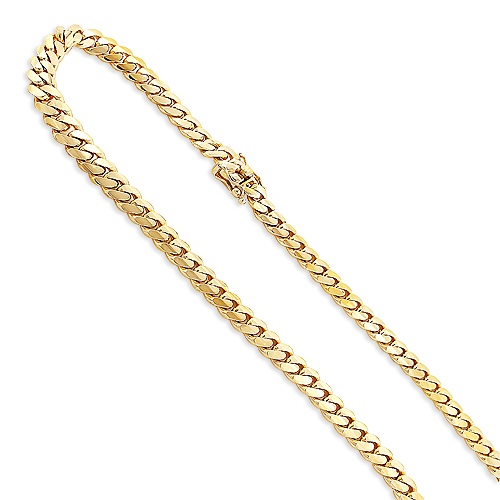 Mens Luxurman Yellow Gold Miami Cuban Link Curb Chain 14K 9.5mm 22-40in