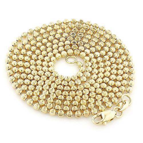 Yellow Gold Moon Cut Bead Chain 10K 2mm; 22-40in